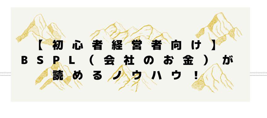 4月1日(木)14:30~ 【初心者経営者向け】BSPL(会社のお金)が読めるノウハウ!を開催します